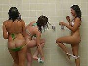 Babes having fun in shower
