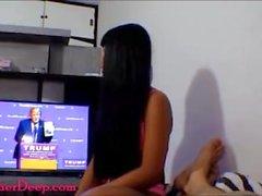 Donald Trump watches Thai teen Heather Deep give deepthroat and get creampi