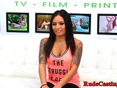Tattooed teen casted and banged