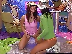 Lesbian teens Kim and Janet lick and toy slits