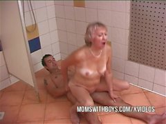 Old Slut and Young Stud In Shower Action