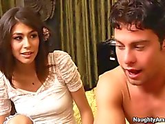 Cute brunette Heather Vahn rides a dick of her friend s brother