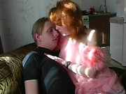 Young guy bangs redhead mature lady
