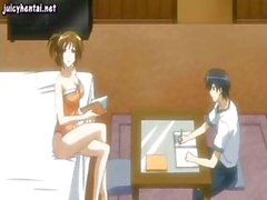Busty young animated brunette waitress gives his boner a titty fuck