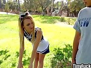 Petite cheerleader fucks new friend