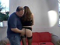 Brunette spanked by oldman