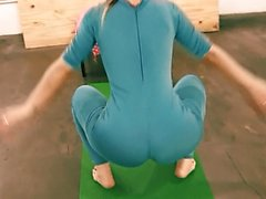 Bubble Butt Tiny Waist Teen Has Big Cameltoe In Lycra Bodysu