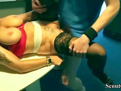 GERMAN MILF SEDUCE YOUNG BOY TO FUCK in Office at Work