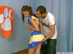 Cheerleader get watched while doing moves