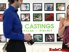 Casting teen with small tits gets roughfucked