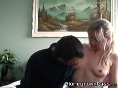 Naughty blonde Janice gets hammered doggy style by Mark