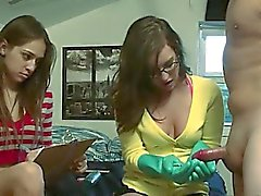 schoolmate girls playing with dildo dick