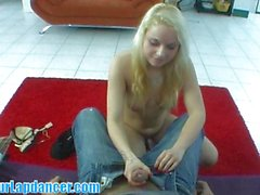 Czech barbie lapdances and rides on dick