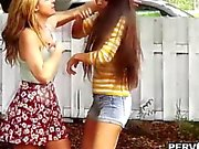Voyeur bangs a lesbian teen after her break up