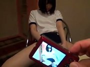 Japanese teen toying hairy cunt
