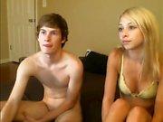 Blonde amateur teen gives a sloppy blowjob