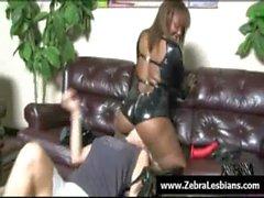 Zebra Lesbians - Sexy black lezbo babes fuck white teens 01