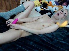 Super sweet blonde teen toying her juicy pink