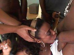 Hot ebony babe is ready for gangbanging
