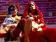 Sexy pornstars Nikki Rhodes and Alexis Amore masturbate side by side