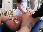 Sexy massaged babes get pounded hard