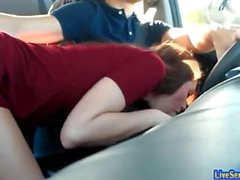Hot young couple gets wild in the car