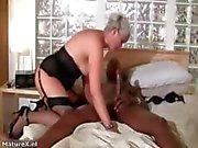 Horny grandma loves riding a big black