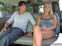 Very young Amateur blonde gets lured in to bang bus