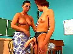 Lesbian teen and teacher strapon dildo sex