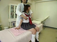 Adorable Oriental teen gets her body massaged and her peach