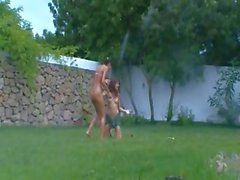 italian chicks watersports in the garden