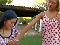 Lesbian babysitters spread vagina holes