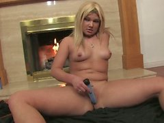 Cute chubby blonde goes solo with her vibrator