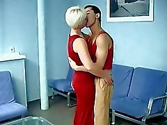 Short haired blonde MILF fucked anally by her teen lover