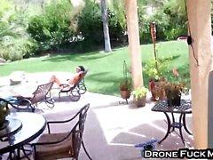 Alison Tyler Brunette Filmed By Drone Fingering Sucking