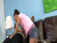 Slutty Asian teen Amai Liu sucks black dong in front of her dad