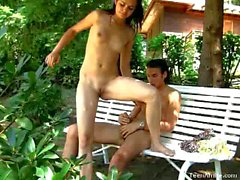 Amateur russian couple fuck in the park