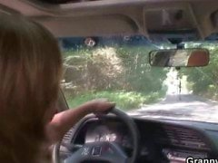Car driver bangs old whore