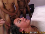 Teen rides black cocks
