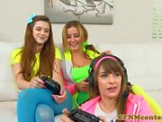 Dominating gamer girls sucking black cock