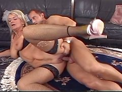 Sexy blonde grandma seduced young guy