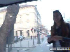 BoxTruckSex - Hot Latina gets a facial after she blows a stranger in public