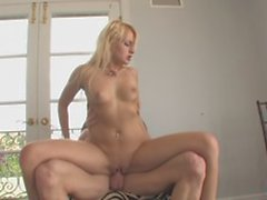 Teen gets her pink shaved pussy wide for a rough doggystyle fucking