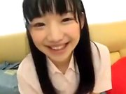 Cute Japanese Teen Rubbing Hairy Pussy