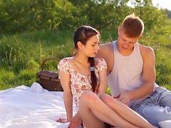 Hot brunette girlfriend gets plowed outdoors