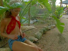 Teen kitties Elisse and Stephanie get slammed outdoors