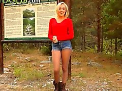 Blonde babe in pantyhose posing forest