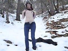 Sexy Slut Masturbates in Forest in Winter