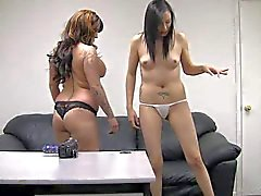chubby tattooed mother and her sleneder daughter have interview