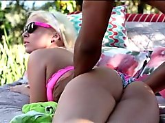 Blonde teen seduces her black stepdad and fucked outdoors